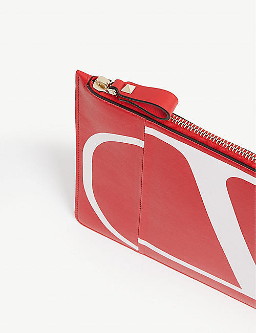 VALENTINO 'V' logo leather pouch