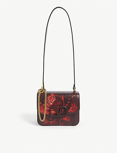 VALENTINO Valentino x Undercover rose print leather shoulder bag