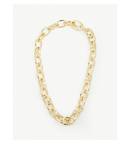 Valentino Accessories V logo chain necklace