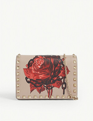 VALENTINO Rockstud rose print wallet-on-chain