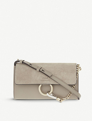 CHLOE Faye leather and suede clutch