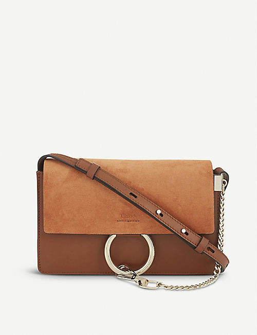 CHLOE: Faye small leather suede clutch