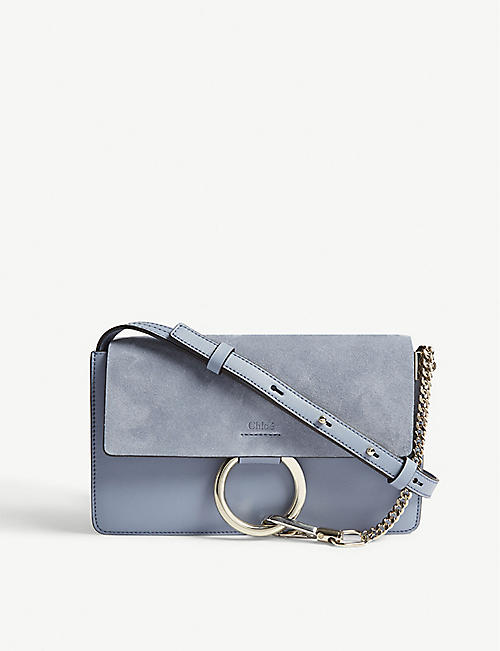 2a1c368c5c91 CHLOE Faye small leather and suede shoulder bag