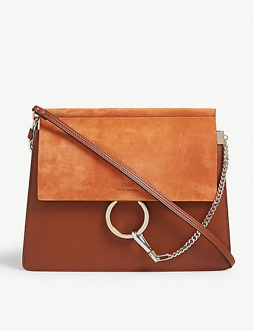 CHLOE: Faye suede and leather satchel