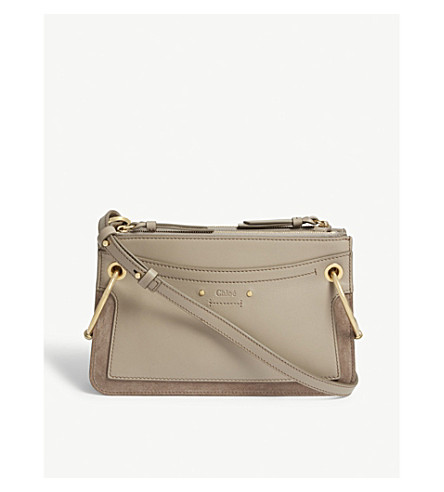 CHLOE Roy mini leather and suede shoulder bag (Motty+grey 06918afb611e5