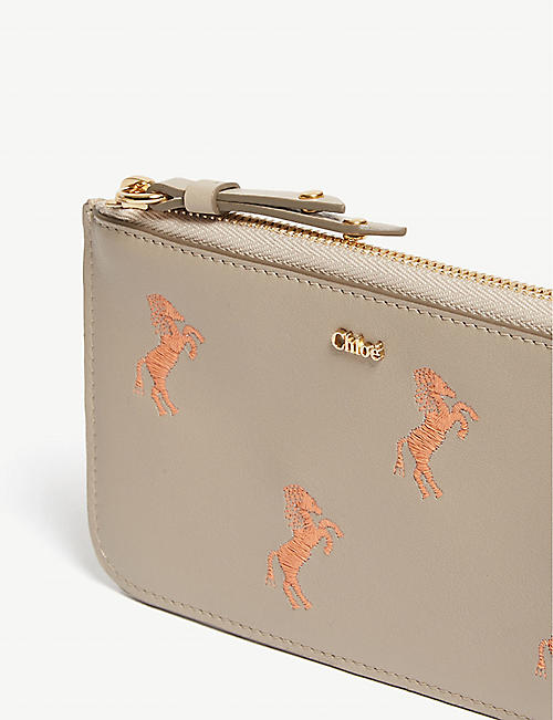 CHLOE Horse logo zip-around leather wallet
