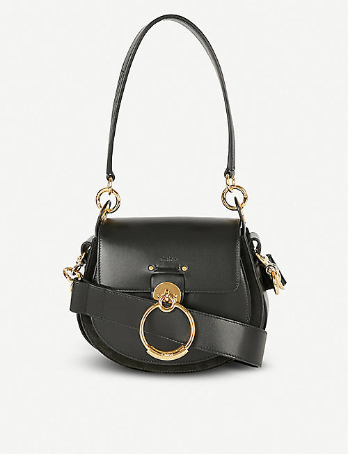 CHLOE Tess leather and suede cross-body bag 592625e367