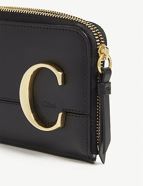 CHLOE Metal logo leather card holder