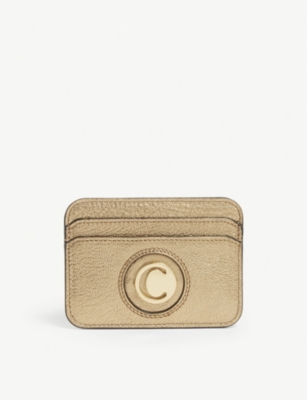 CHLOE Slide metallic leather card holder