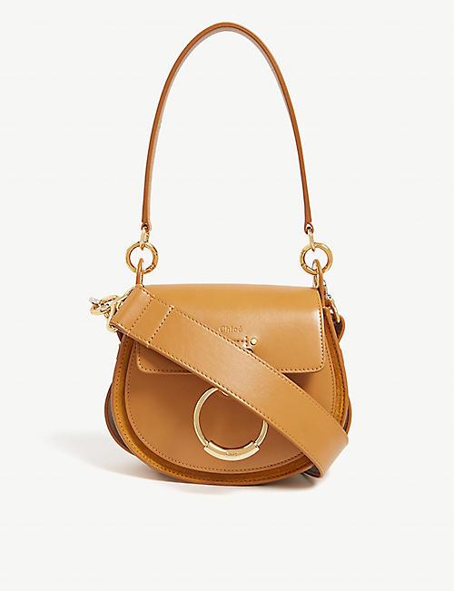 68e9e4b2dd53 CHLOE Tess leather and suede cross-body bag