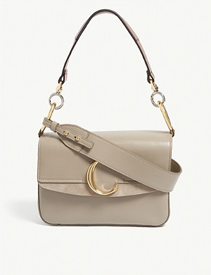 CHLOE Chloé C leather and suede shoulder bag
