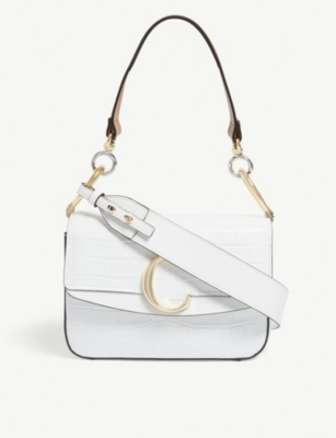 CHLOE Chloé C croc-embossed leather shoulder bag