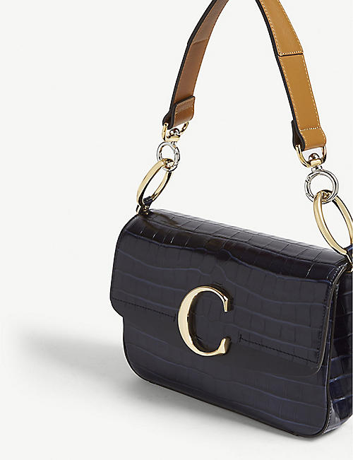 CHLOE C small croc-embossed leather shoulder bag