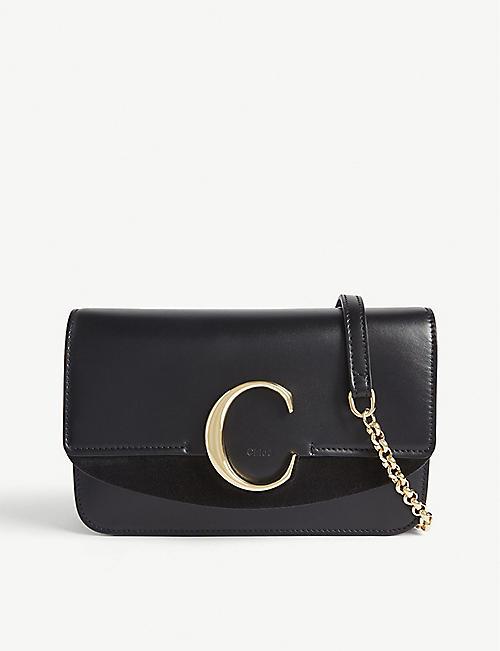 CHLOE Chloé C leather and suede shoulder bag 07d84368fb