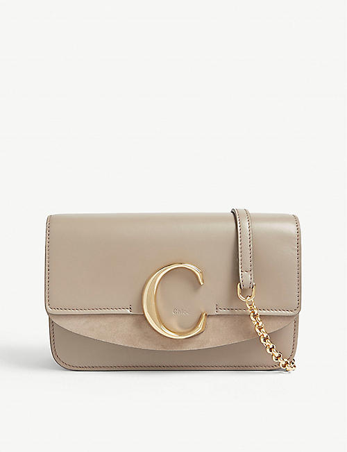 CHLOE C leather and suede shoulder bag