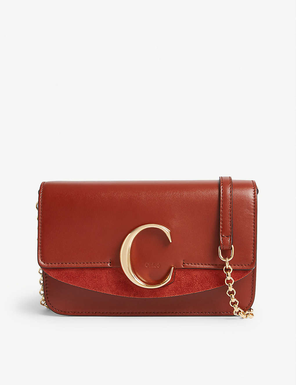 CHLOE: Chloé C leather and suede cross-body bag