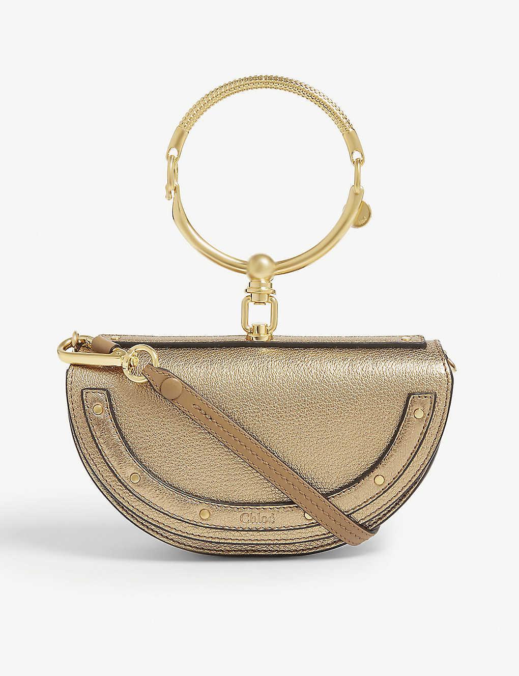 1a25e6ac9f85 CHLOE - Nile metallic grained leather cross-body bag   Selfridges.com