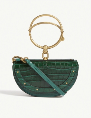 CHLOE Nile minaudière croc-embossed leather bag