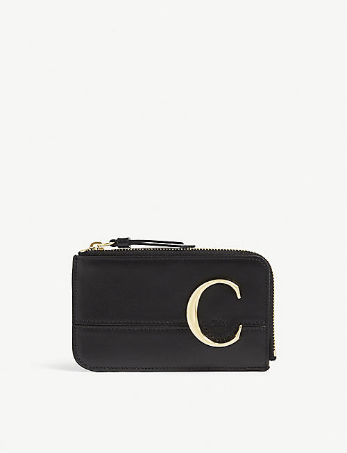 CHLOE: Monogram leather card holder
