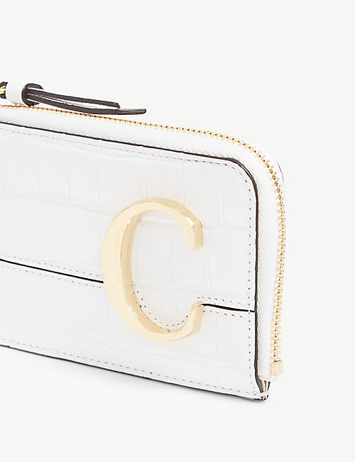 CHLOE Monogram reptile-effect leather card holder