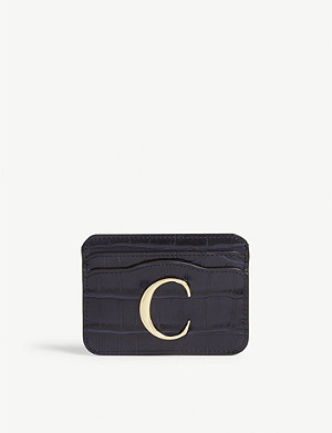 CHLOE Reptile-effect leather card holder