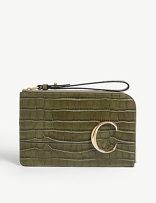 CHLOE Croc-embossed small leather purse
