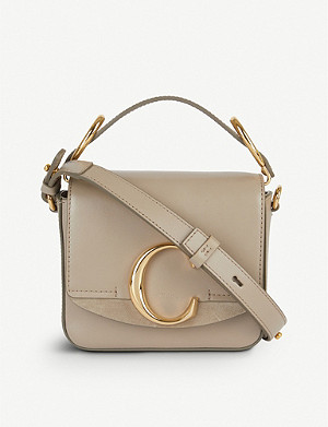 CHLOE Chloé C mini leather and suede shoulder bag