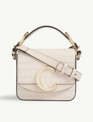 CHLOE Mini Chloé C croc-embossed leather shoulder bag