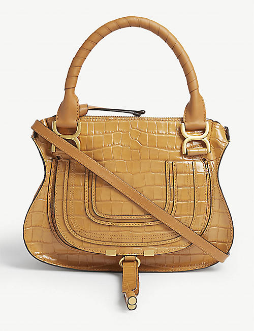 CHLOE Marcie croc-embossed leather satchel bag