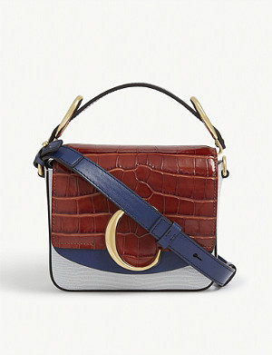 CHLOE C mini square croc-embossed leather shoulder bag
