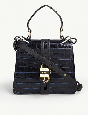 CHLOE Aby croc-embossed leather small satchel