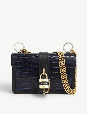 CHLOE Aby Chain croc-embossed leather shoulder bag