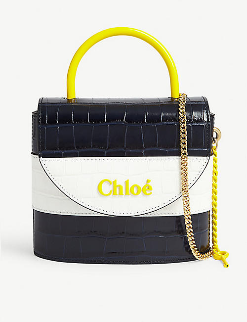 CHLOE Small Aby Lock croc-embossed leather bag