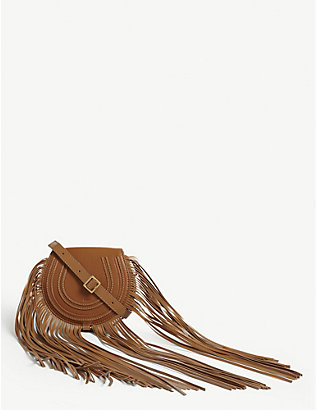 CHLOE: Marcie fringed leather cross-body bag
