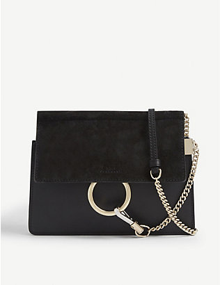 CHLOE: Faye mini leather and suede shoulder bag