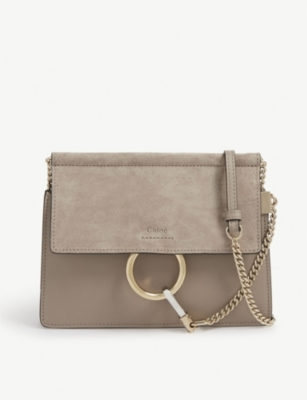 Faye mini suede and leather satchel - MOTTY GREY