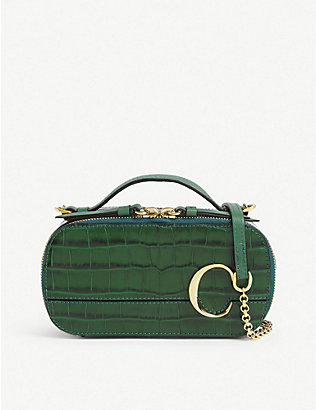 CHLOE: Chlo? C mini croc-embossed leather vanity bag