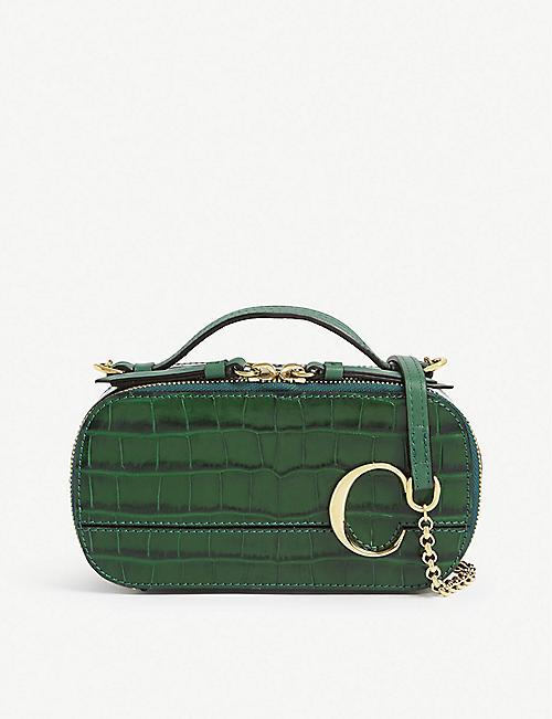 CHLOE Croc-embossed leather shoulder bag