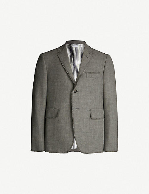 21d626bf9c15 THOM BROWNE Frayed classic-fit wool blazer