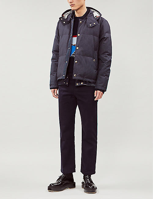 THOM BROWNE Striped wool-down hooded jacket
