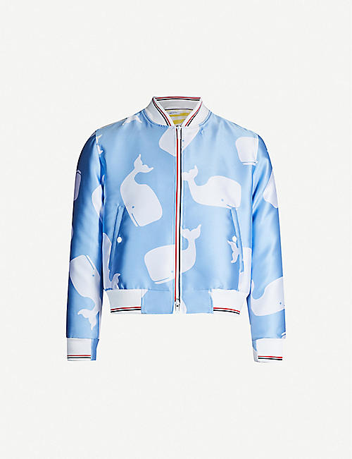 1a61e27f1972 THOM BROWNE Graphic-print satin bomber jacket