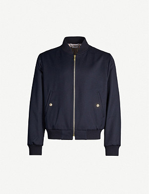 THOM BROWNE Striped-trim ribbed wool-blend bomber jacket