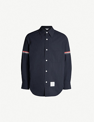 THOM BROWNE Stripe-trimmed shell overshirt