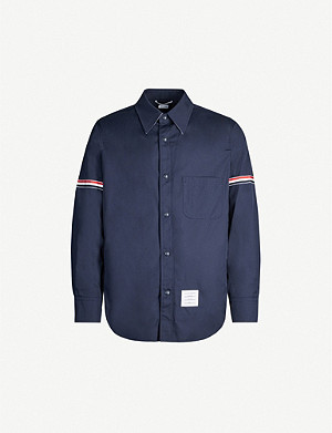 THOM BROWNE Striped-sleeves stretch-twill jacket