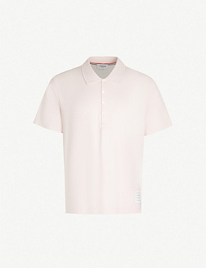 THOM BROWNE Oversized cotton-jersey polo shirt