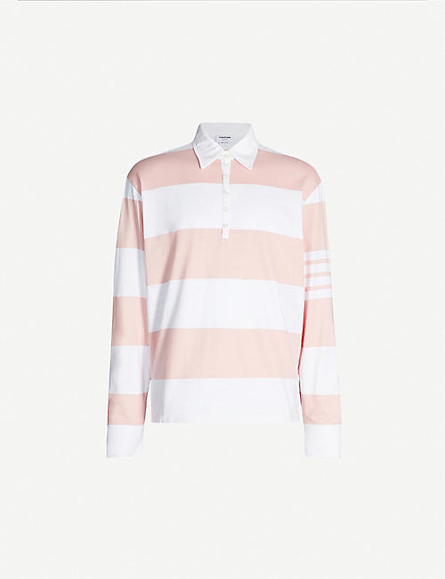 43aad4d7 THOM BROWNE Striped cotton rugby shirt. THOM BROWNE Striped cotton rugby  shirt. Quick Shop