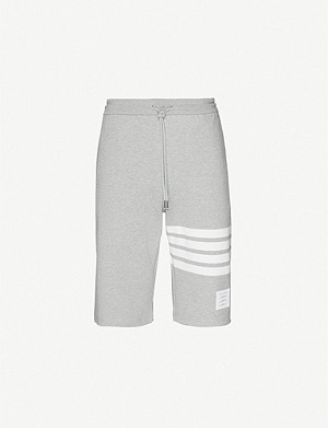 THOM BROWNE Striped-detail cotton-jersey shorts