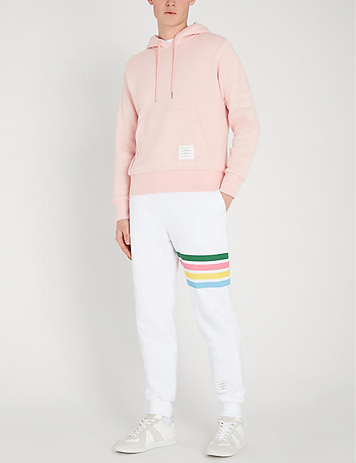 THOM BROWNE Rainbow-striped tapered cotton jogging bottoms