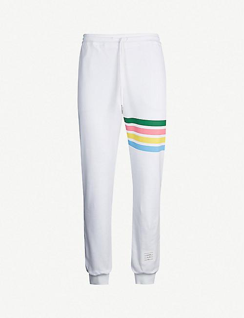 e848e7b9853d THOM BROWNE Rainbow-striped tapered cotton jogging bottoms