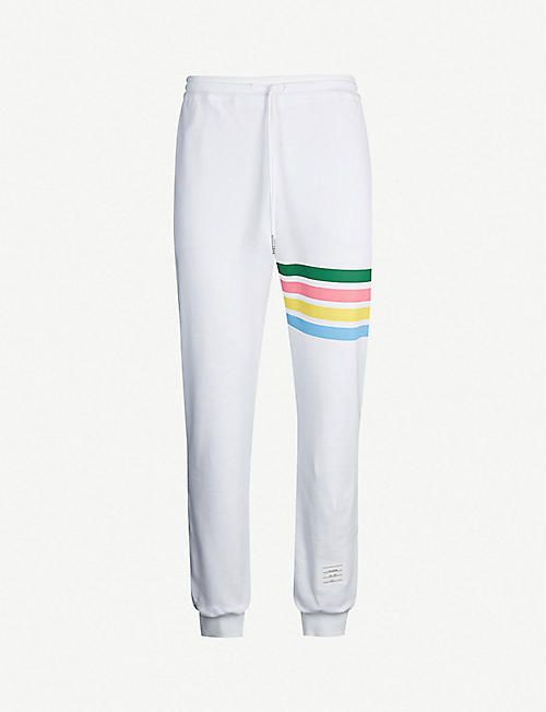 018d24054728 THOM BROWNE Rainbow-striped tapered cotton jogging bottoms